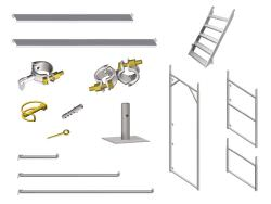 Fassadengerüst-Einzelteile